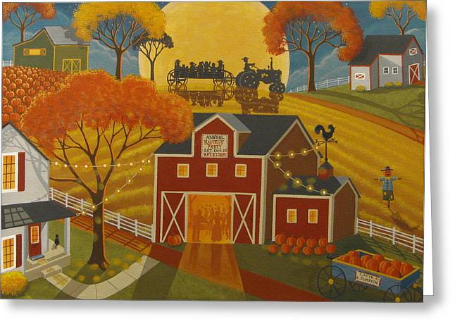 Hayride Greeting Cards - Harvest Party Greeting Card by Mary Charles
