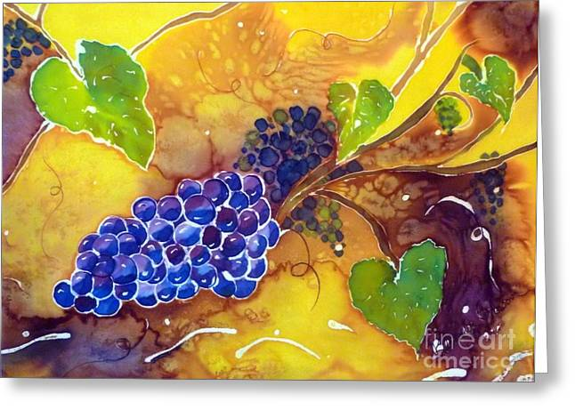 Grape Vine Tapestries - Textiles Greeting Cards - Harvest the Vine Greeting Card by Beverly Johnson