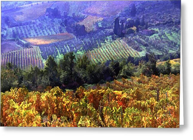 Sparkling Wine Digital Art Greeting Cards - Harvest Time at the Vineyard Greeting Card by Elaine Plesser