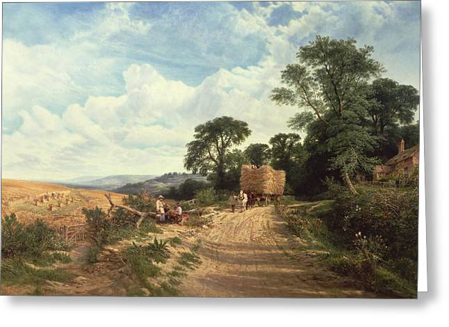 Cole Paintings Greeting Cards - Harvest Time Greeting Card by George Vicat Cole