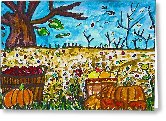 Harvest Time Drawings Greeting Cards - Harvest Time Greeting Card by Monica Engeler