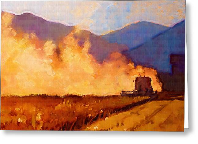 Hill Paintings Greeting Cards - Harvest Time Greeting Card by Robert Bissett