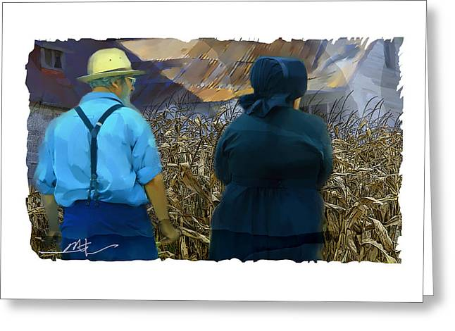 Amish Farms Mixed Media Greeting Cards - Harvesting The Corn Greeting Card by Bob Salo