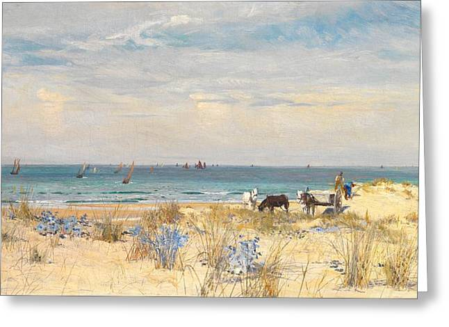 Horse And Cart Paintings Greeting Cards - Harvesting the Land and the Sea Greeting Card by William Lionel Wyllie