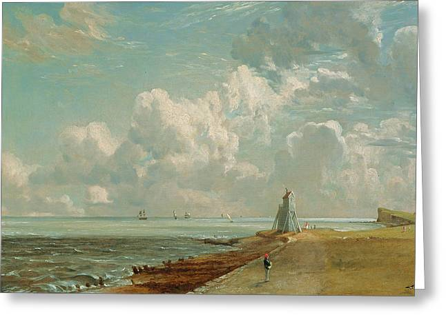 Constable Paintings Greeting Cards - Harwich - The Low Lighthouse and Beacon Hill Greeting Card by John Constable