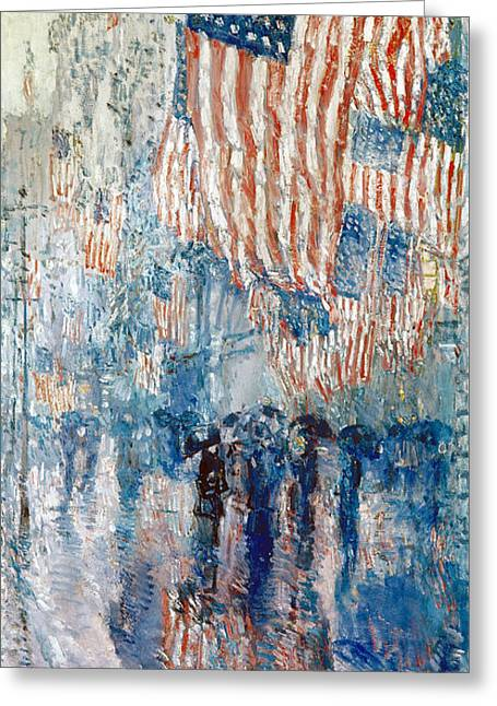 Umbrella Greeting Cards - Hassam Avenue In The Rain Greeting Card by Granger