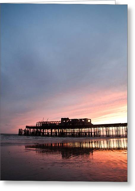 Landscape Posters Greeting Cards - Hastings Pier After The Fire Greeting Card by Dawn OConnor