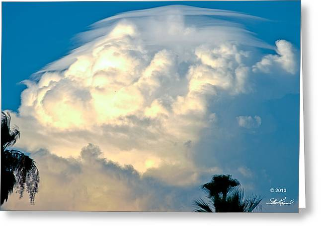 Steve Knievel Greeting Cards - Hat Over Rising Storm Cloud Greeting Card by Steve Knievel
