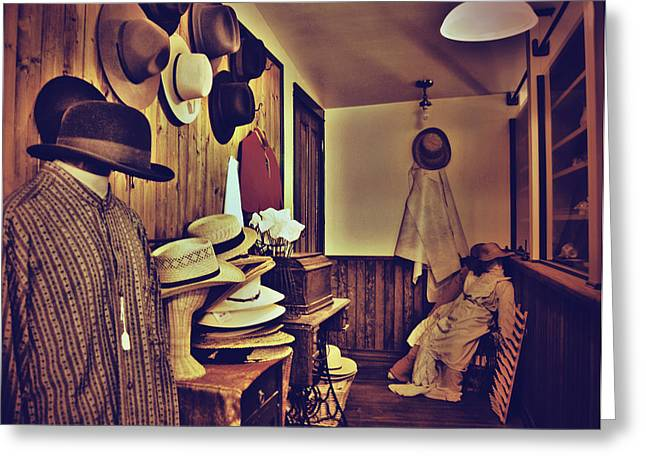 Alberta Posters Greeting Cards - Hat Room Greeting Card by Jerry Cordeiro