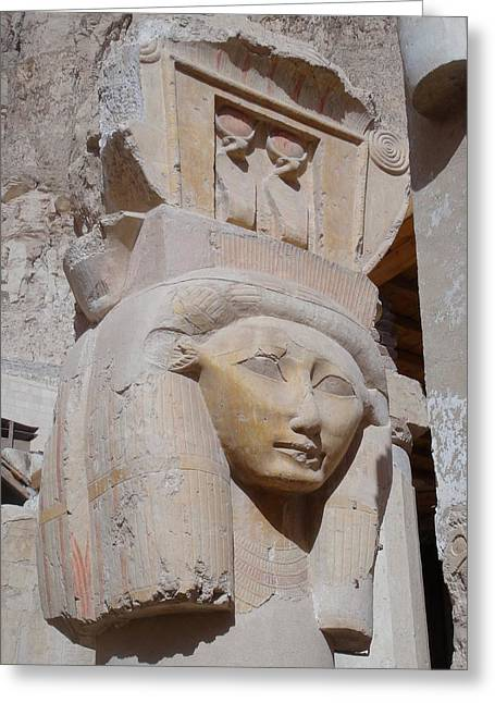 Hathor Greeting Cards - Hathor at Deir el Bahri Greeting Card by Richard Deurer
