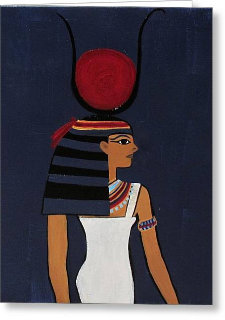 Hathor Paintings Greeting Cards - Hathor Greeting Card by Diana Martinez