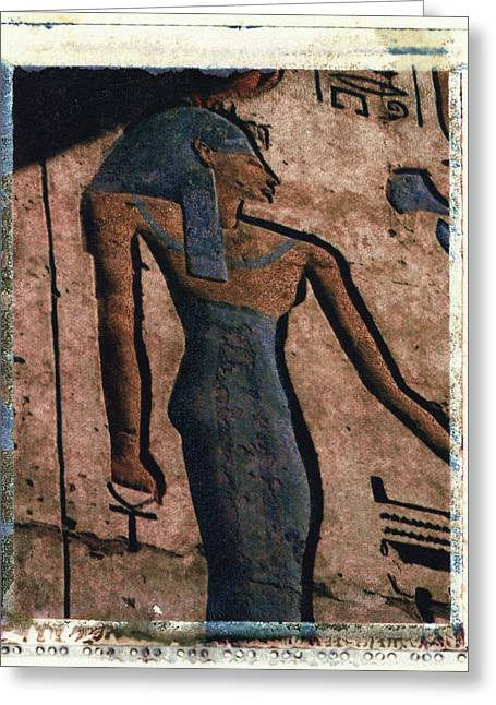 Egyptian Goddess Greeting Cards - Hathor Holding the Ankh Sign Greeting Card by Bernice Williams