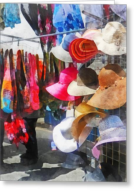 Street Greeting Cards - Hats and Purses at Street Fair Greeting Card by Susan Savad
