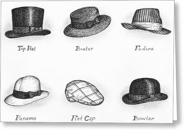 Pen And Paper Drawings Greeting Cards - Hats of a Gentleman Greeting Card by Adam Zebediah Joseph