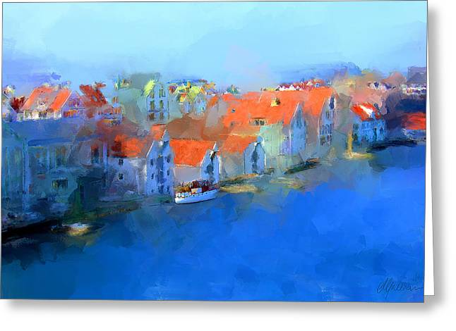 Haugesund Greeting Cards - Haugesund Harbour Norway Greeting Card by Michael Greenaway