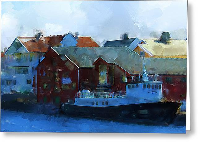 Haugesund Greeting Cards - Haugesund Harbour Smeasund Greeting Card by Michael Greenaway