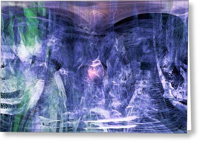 Abstract Expression Greeting Cards - Haunted Caves Greeting Card by Linda Sannuti