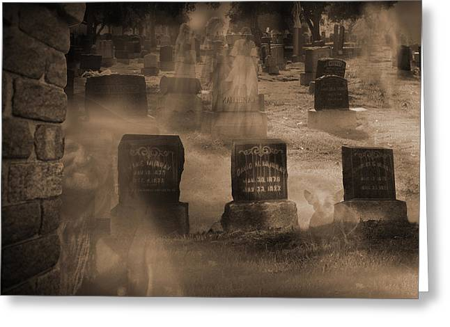 The Shadow Of Death Greeting Cards - Haunted Cemetery Pt 1 Greeting Card by Liezel Rubin