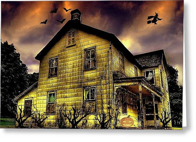 Haunted Halloween House Greeting Card by Robin Pross