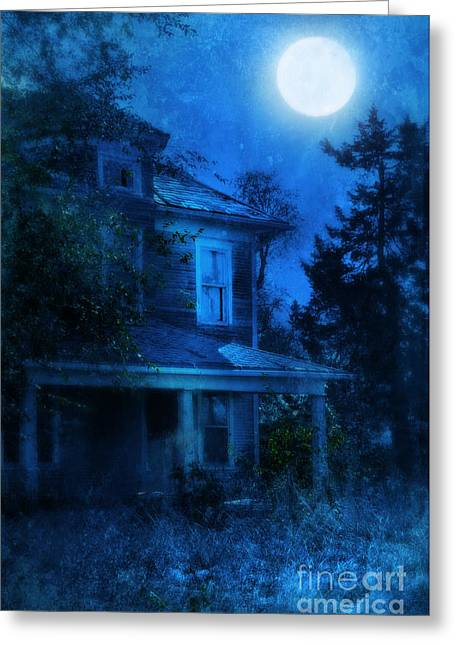 Haunted House Photographs Greeting Cards - Haunted House Full Moon Greeting Card by Jill Battaglia