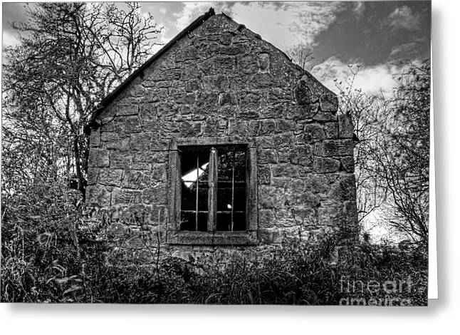 Haunted House in Black and White Greeting Card by Chris Smith