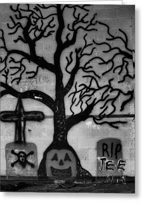 Haunted Schools Greeting Cards - Haunted House in Black and White Greeting Card by Karen Wagner