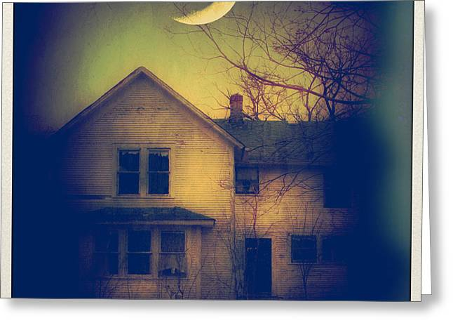 Moonlit Night Greeting Cards - Haunted House Greeting Card by Jill Battaglia