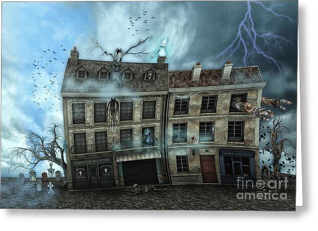 Haunted House Digital Art Greeting Cards - Haunted House Greeting Card by Jutta Maria Pusl