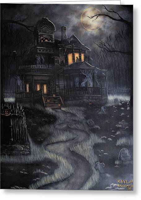 """haunted House"" Paintings Greeting Cards - Haunted House Greeting Card by Kayla Ascencio"
