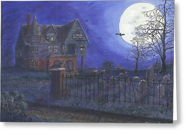 """haunted House"" Paintings Greeting Cards - Haunted House Greeting Card by Lori  Theim-Busch"