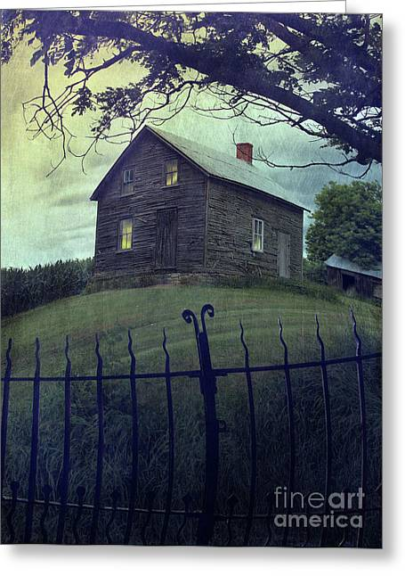 Rundown Greeting Cards - Haunted house on a hill with grunge look Greeting Card by Sandra Cunningham