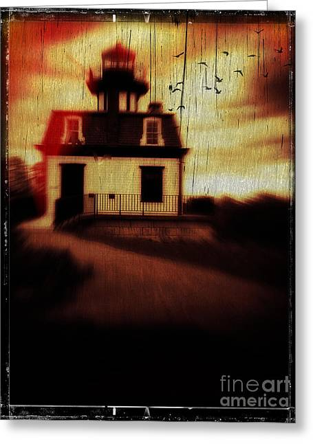 Ghost Story Greeting Cards - Haunted Lighthouse Greeting Card by Edward Fielding