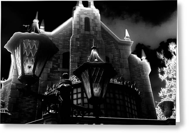 Amusements Greeting Cards - Haunted Mansion Night Greeting Card by David Lee Thompson