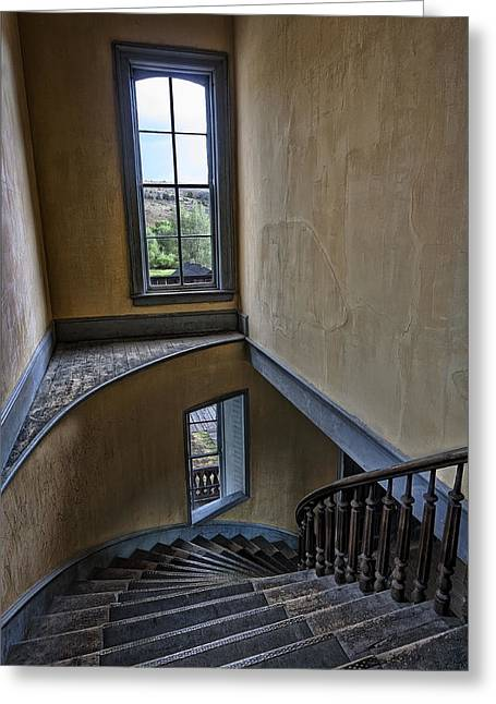 Dunn Greeting Cards - Haunted Meade Hotel Grand Staircase - Bannack Ghost Town - Montana Greeting Card by Daniel Hagerman
