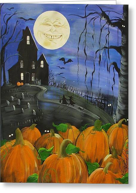 """haunted House"" Paintings Greeting Cards - Haunted Night Greeting Card by Sylvia Pimental"