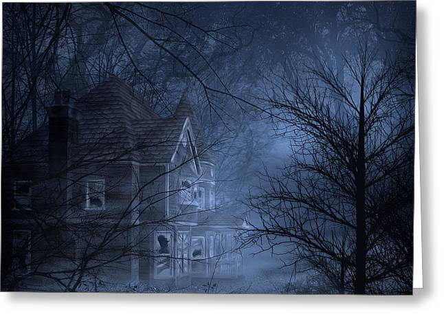 Abandoned House Mixed Media Greeting Cards - Haunted Place Greeting Card by Svetlana Sewell