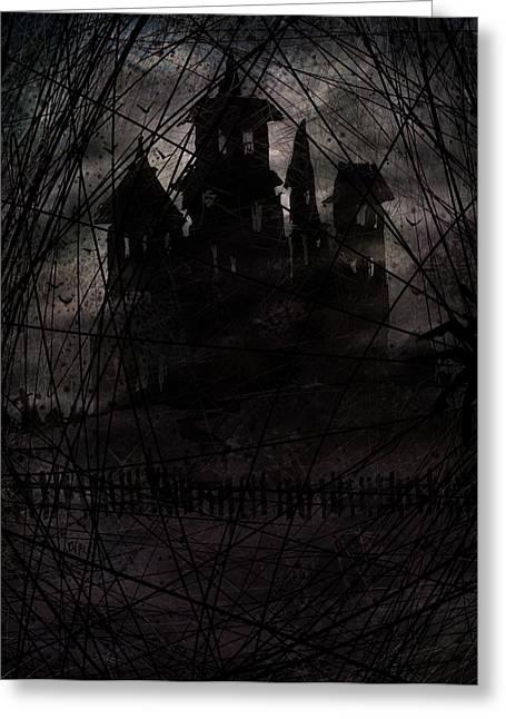 Creepy Digital Greeting Cards - Haunted Greeting Card by Rachel Christine Nowicki