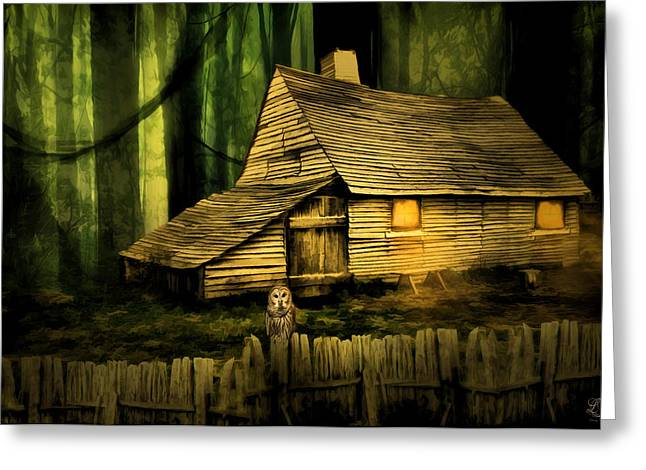 Wooden Fence Greeting Cards - Haunted Shack Greeting Card by Lourry Legarde