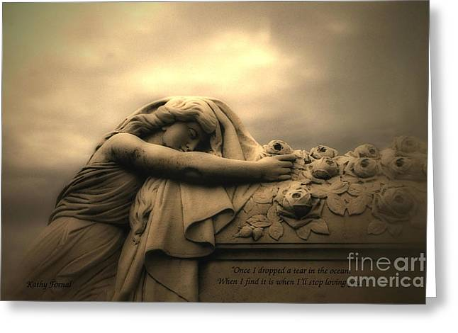Dark Angels Greeting Cards - Haunting Cemetery Angel Mourner Rose Casket Greeting Card by Kathy Fornal