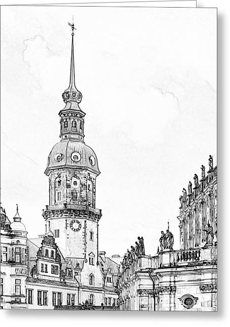 Building Exterior Greeting Cards - Hausmannsturm in Dresden Germany Greeting Card by Christine Till