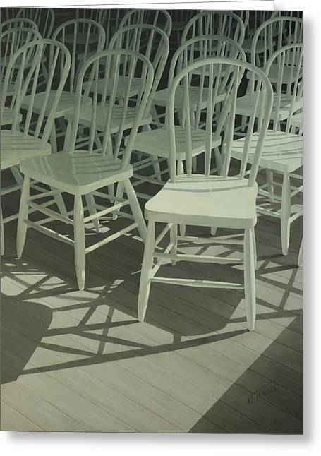 Spindle Greeting Cards - Have A Chair Greeting Card by Nancy Teague