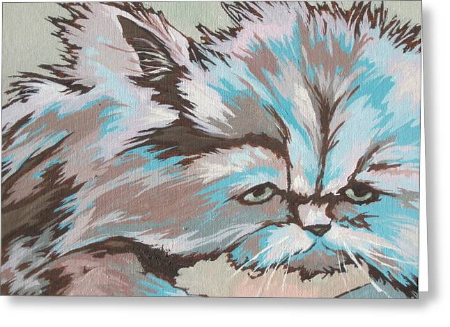 Cats Show Greeting Cards - Having a Bad Hair Day Greeting Card by Sandy Tracey