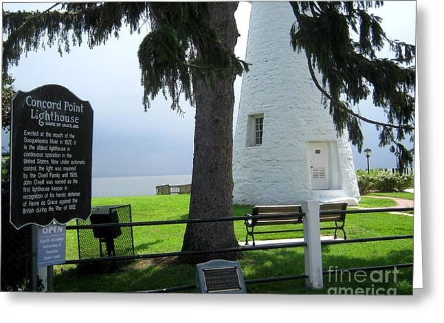 Concord. Historic Greeting Cards - Havre de Grace Lighthouse Greeting Card by Lesley Giles