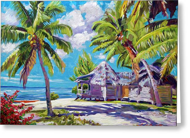 Thatched Roof Greeting Cards - Hawaii Beach Shack Greeting Card by David Lloyd Glover