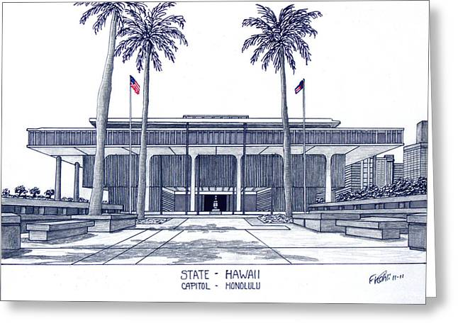Pen And Ink Drawing Greeting Cards - Hawaii State Capitol Greeting Card by Frederic Kohli