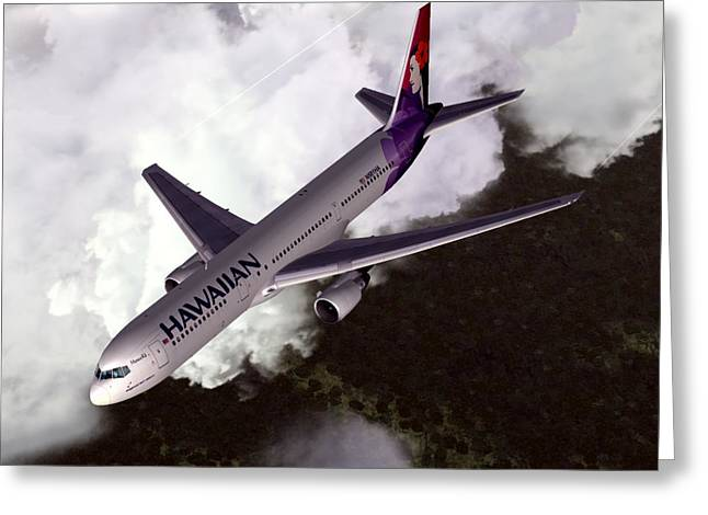 Commercial Aviation Greeting Cards - Hawaiian Airlines Boeing 767-300ER Greeting Card by Mike Ray