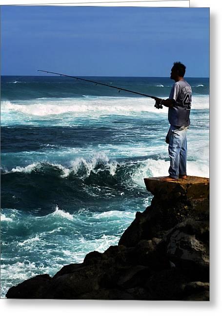 Hawaiian Fish Greeting Cards - Hawaiian Fisherman Greeting Card by Marilyn Hunt