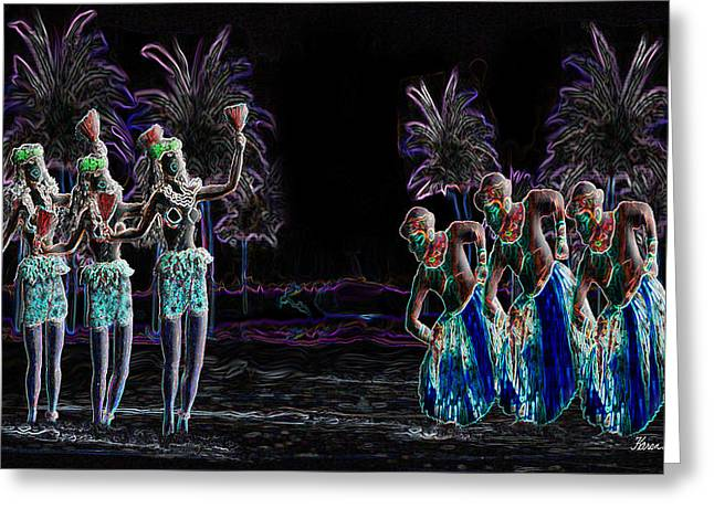 Dancing On The Beach Greeting Cards - Tribal Dance Greeting Card by Karen-Lee