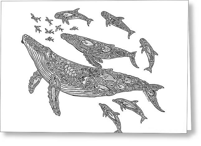 Flying Animal Drawings Greeting Cards - Hawaiian Humpbacks Greeting Card by Carol Lynne