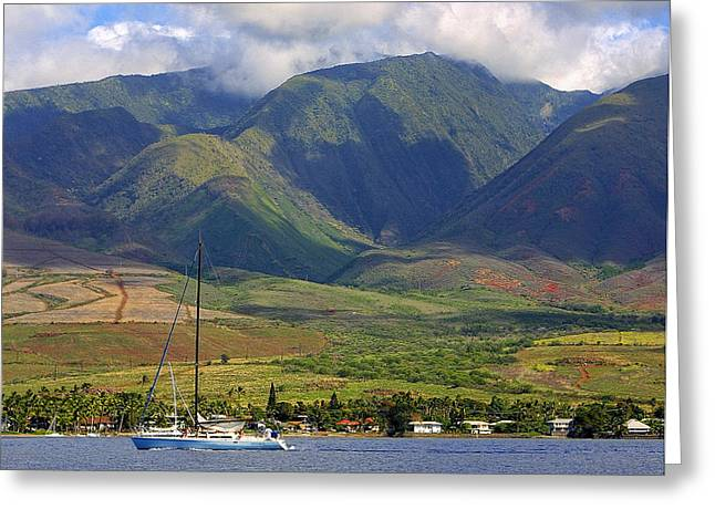 Nountains Greeting Cards - Hawaiian Mountain Coast Greeting Card by Linda Phelps